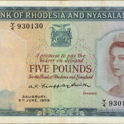 RHODESIA & NYASALAND. Bank of Rhodesia & Nyasaland. 5 Pounds, 1956-61.