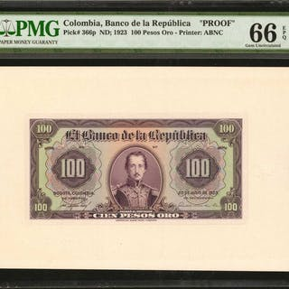 COLOMBIA. Banco de la Republica. 100 Pesos Oro, July 20, 1923. P-366p.