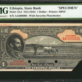 ETHIOPIA. State Bank of Ethiopia. 1 Dollar, ND (1945). P-12s1. Specimen.