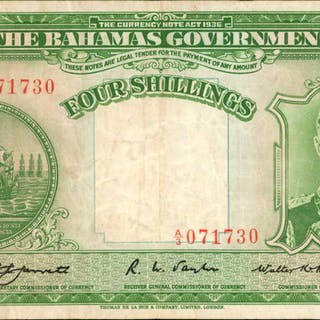 BAHAMAS. Bahamas Government. 4 Shillings, 1936. P-9a. Very Fine.