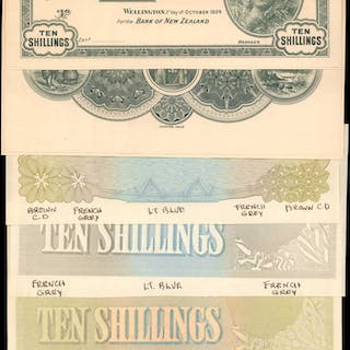 NEW ZEALAND. Bank of New Zealand. 10 Shillings, ND. P-S231pp. Proofs.