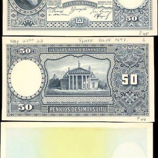 LITHUANIA. Lietuvos Bankas. 50 Litu, 1928. Progressive Proofs.