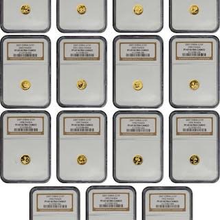 CHINA. Gold 25th Anniversary Panda Coin Set, 2007. Panda Series. NGC