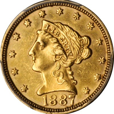 1887 Liberty Head Quarter Eagle. AU Details--Cleaned (PCGS).