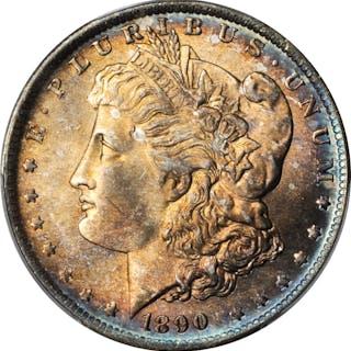 1890-O Morgan Silver Dollar. MS-65+ (PCGS).