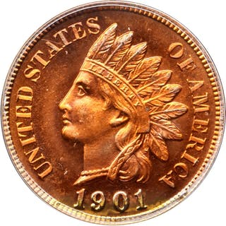 1901 Indian Cent. Snow-PR4. Repunched Date. Proof-67 RD (PCGS). CAC. OGH.