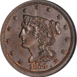 1854 Braided Hair Half Cent. C-1. MS-64 BN (NGC).