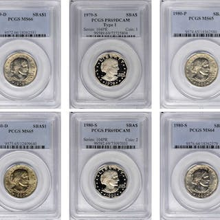 Lot of (6) Anthony Dollars. (PCGS).