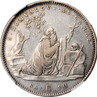 ITALY. Papal States. 50 Baiocchi, 1834-R Anno IV. Rome Mint. Gregory
