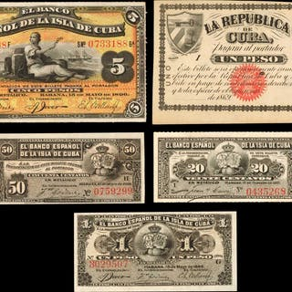 CUBA. Mixed Banks. 20 & 50 Centavos and 1 & 5 Pesos, Mixed Dates.