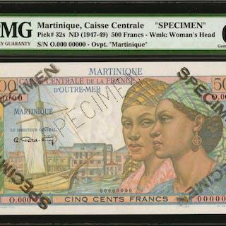 MARTINIQUE. Caisse Centrale. 500 Francs, ND (1947-49). P-32s. Specimen.