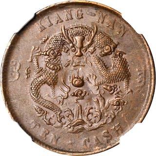 CHINA. Kiangnan. 10 Cash, CD (1905). NGC MS-62 Brown.