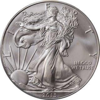 Lot of (2) 2013-Dated Silver Eagles. First Strike. Chief Engraver