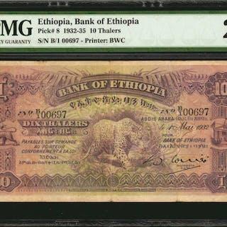 ETHIOPIA. Bank of Ethiopia. 10 Thalers, 1932-35. P-8. PMG Very Fine 25.