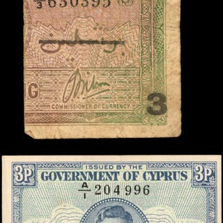 CYPRUS. Government of Cyprus. 3 Piastres, 1943-44. P-27 & 28. Very