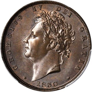 GREAT BRITAIN. Farthing, 1830. George IV. PCGS MS-64 Brown Gold Shield.