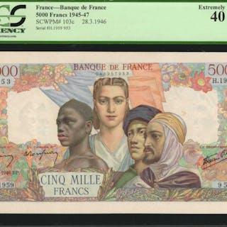 FRANCE. Banque de France. 5000 Francs, 1945-47. P-103c. PCGS Currency