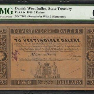 DANISH WEST INDIES. State Treasury. 2 Dalere, 1898. P-8r. Remainder.