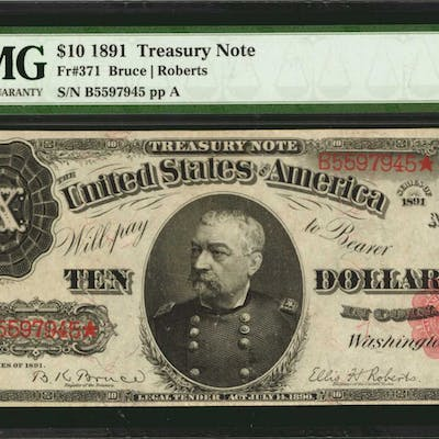 Fr. 371. 1891 $10 Treasury Note. PMG Extremely Fine 40.