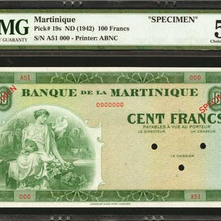 MARTINIQUE. Banque de la Martinique. 100 Francs, ND. P-19s. Specimen.