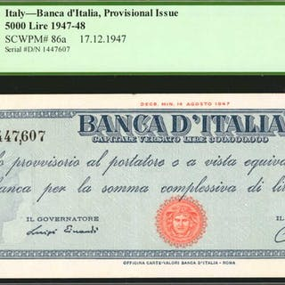ITALY. Banca d'Italia. 5000 Lire, 1947-49. P-86a. PMG Choice Very Fine 35.