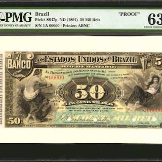 BRAZIL. Dos Estados Unidos Do Brazil. 50 Mil Reis, ND (1891). P-S647p.