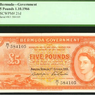 BERMUDA. Bermuda Government. 5 Pounds, 1966. P-21d. PCGS Currency