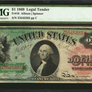 Fr. 18. 1869 $1  Legal Tender Note. PMG Very Fine 25.