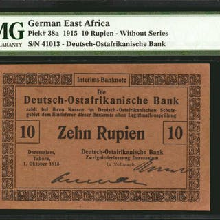 GERMAN EAST AFRICA. Deutsch-Ostafrikanische Bank. 10 Rupien, 1915.