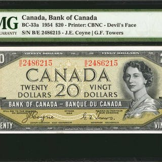CANADA. Bank of Canada. 20 Dollars, 1954. BC-33a. PMG Gem Uncirculated 65 EPQ.