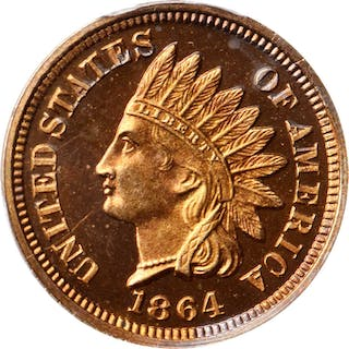 1864 Indian Cent. Copper-Nickel. Snow-PR1, the only known dies. Proof-66