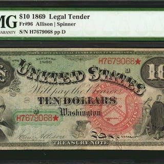 Fr. 96. 1869 $10 Legal Tender Note. PMG Very Fine 25.