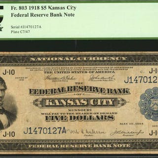 Fr. 803. 1918 $5  Federal Reserve Bank Note. Kansas City. PCGS Currency