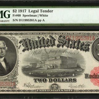 Fr. 60. 1917 $2  Legal Tender Note. PMG Choice About Uncirculated 58.