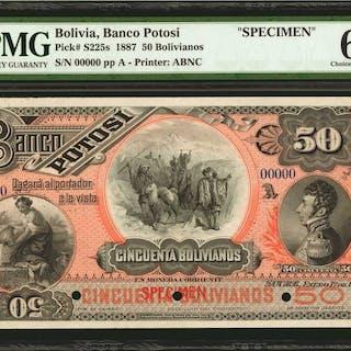 BOLIVIA. Banco Potosí. 50 Bolivianos, 1887. P-S225s. Specimen. PMG