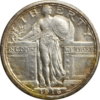 1916 Standing Liberty Quarter, Mint State (Uncertified), mounted in