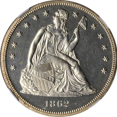 1862 Liberty Seated Silver Dollar. Proof-64 Cameo (NGC). CAC.