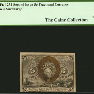 Fr. 1232. 5 Cent. Second Issue. PCGS Currency About New 50.