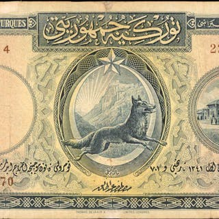 TURKEY. Ministry of Finance. 5 Livres Turques, 1926. P-120a. Fine.
