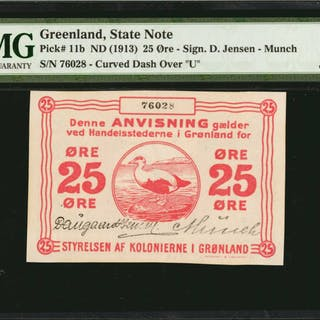 GREENLAND. State Note. 25 Ore, ND (1913). P-11b. PMG Choice Uncirculated 64.