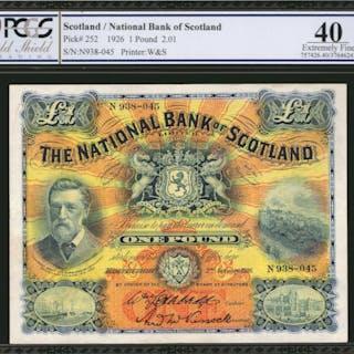 SCOTLAND. National Bank of Scotland. 1 Pound, 1926. P-252. PCGS GSG