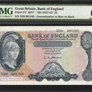 GREAT BRITAIN. Bank of England. 5 Pounds, ND (1957-67). P-371. PMG