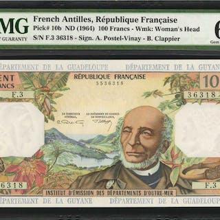 FRENCH ANTILLES. Republique Francaise. 100 Francs, ND (1964). P-10b.