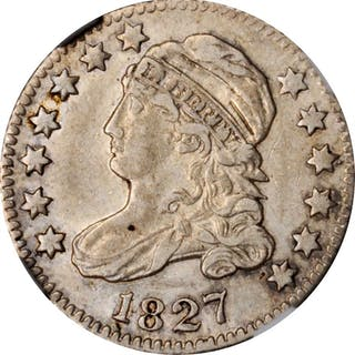 1827 Capped Bust Dime. Pointed Top 1 in 10 C. EF-45 (NGC).