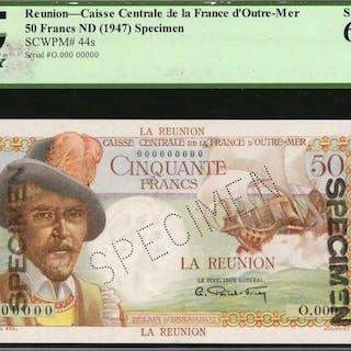 REUNION. Caisse Centrale de la France d'Outre-Mer. 50 Francs, ND (1947).