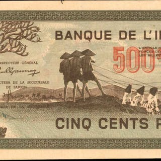 FRENCH INDO-CHINA. Banque de l'Indochine. 500 Piastres, ND (1945).