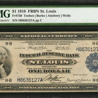 Fr. 730. 1918 $1  Federal Reserve Bank Note. St. Louis. PMG Very Fine 30.