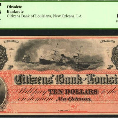 New Orleans, Louisiana. Citizens Bank of Louisiana. 186x  $10. PCGS