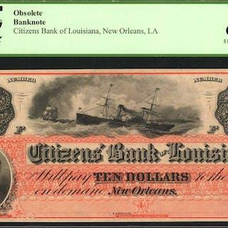New Orleans, Louisiana. Citizens Bank of Louisiana. 186x  $10. PCGS
