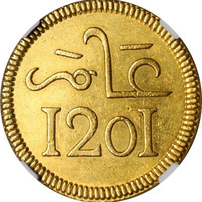 MOROCCO. 10 Mithquals (10 Riyals), AH 1201 (1787). Madrid Mint. Muhammed